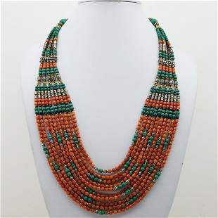 Old Vintage Taiwani Natural Coral Beaded Necklace