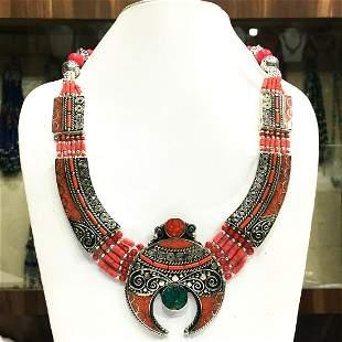 Tibetan Natural Coral Beaded Handmade Necklace