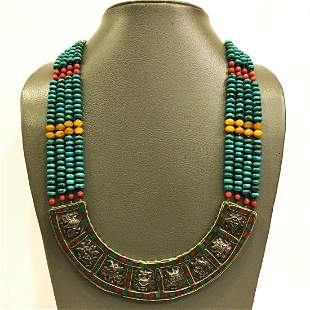 Natural Old Turquoise Vintage Beaded Necklace