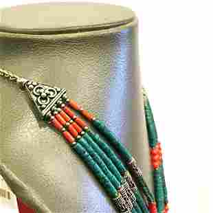 Natural Old Turquoise & Coral Tibetan Beaded Necklace