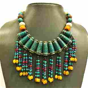Natural Old Turquoise Tibetan Beaded Necklace