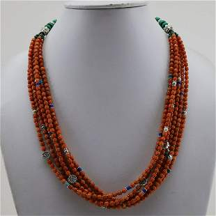 Vintage Taiwani Natural Coral Beaded Necklace