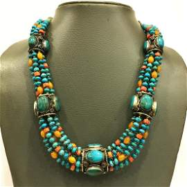 Natural Old Turquoise Beaded Choker Necklace