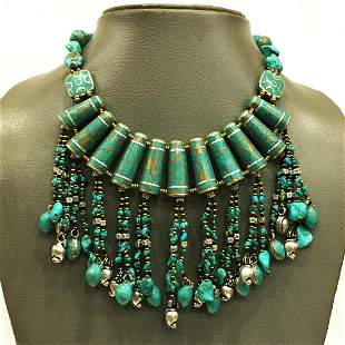 Natural Tibetan Rough Turquoise Beaded Necklace