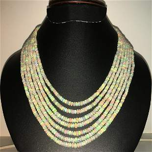 Natural Ethiopian opal Plane Rondelles Beads Necklace