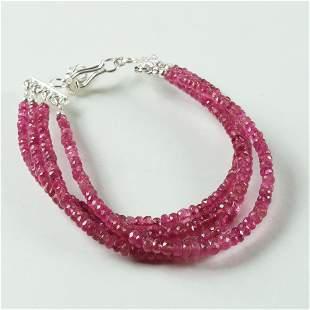 4 Line Natural Pink Tourmaline 92.5 Sterling Silver
