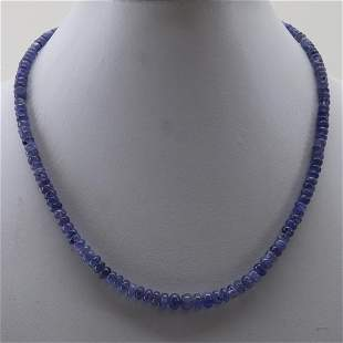 Natural 131 CT Tanzanite 92.5 Sterling Silver Necklace