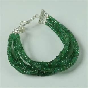 Natural Emerald 92.5 Sterling Silver Bracelet