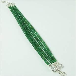 Natural 3-5 MM Emerald 92.5 Sterling Silver Bracelet