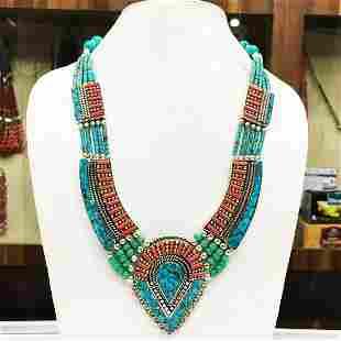Tibetan Turquoise & Coral Bohamain Necklace
