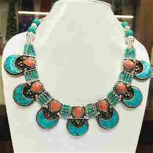 Tibetan Turquoise & Coral Ethnic Chokar Necklace