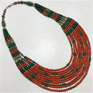 Tibetan Vintage Handmade Coral Long Necklace
