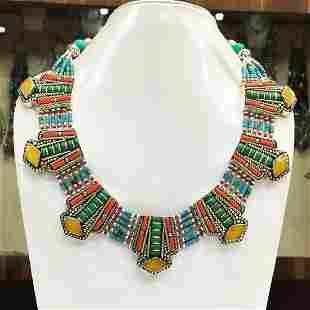 Tibetan Turquoise & Amber Ethnic Chokar Necklace