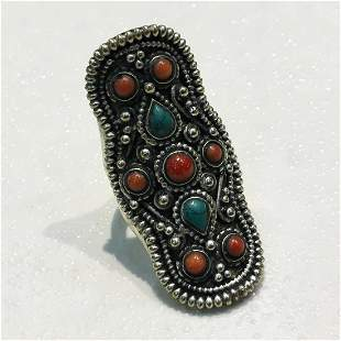 Tibetan Turquoise & Coral Hand Carved Antique Ring -