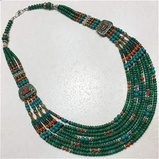 Tibetan Vintage Handmade Turquoise Long Necklace