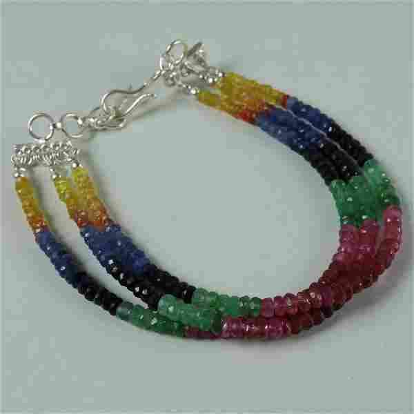 Natural Multi Sapphire 92.5 Sterling Silver Bracelet