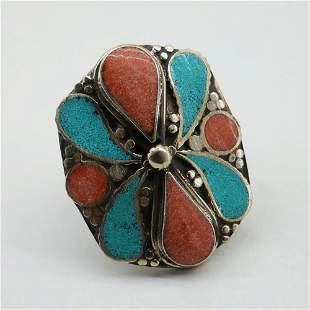 Tibetan Turquoise & Coral Handmade Ethnic Ring - Free