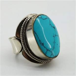 Tibetan Turquoise Handmade Ethnic Chokar Ring - Free