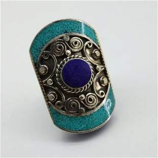 Tibetan Turquoise & Lapis Handmade Ethnic Ring - Free