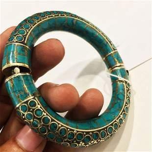 Tibetan Natural Turquoise Handmade Silver Old Bangle