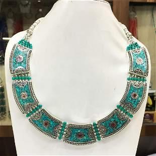 Tibetan Turquoise Tibetan Silver Chokar Necklace