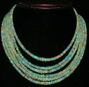 Natural Opal 335 Carat 7 Strand Beads Necklace