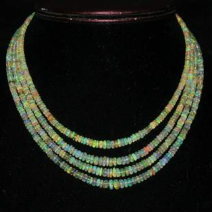 4 Strand Natural Ethiopian Welo fire Oapl Necklace
