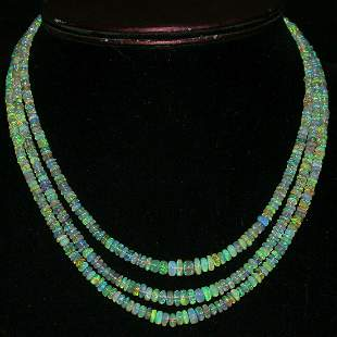 3 Strand Beads Necklace Natural Ethiopian Welo fire
