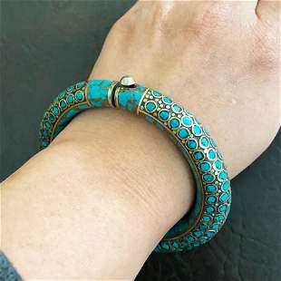 Tibetan Natural Turquoise Handmade Silver Bangle