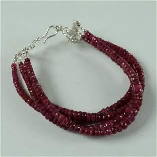 Natural African Ruby 92.5 Sterling Silver Bracelet