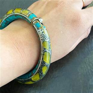 Natural Turquoise & Amber Handmade Silver Old Bangle