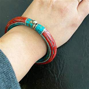 Natural Turquoise & Coral Handmade Silver Old Bangle
