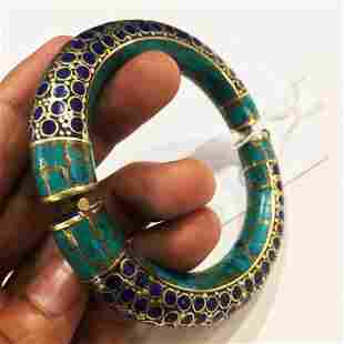 Natural Turquoise & Lapis Handmade Silver Old Bangle