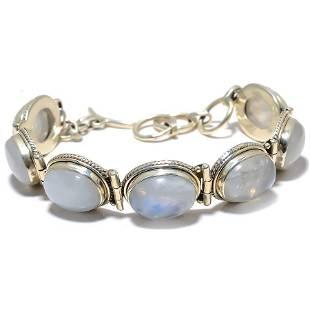 Sterling Silver Natural Rinbow Moonstone Bracelet