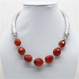 Indian Hand-Carved Metal & Carnelian Necklace