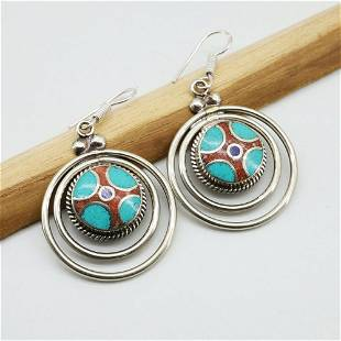 Tibetan Turquoise Ethnic Handmade Round Earrings