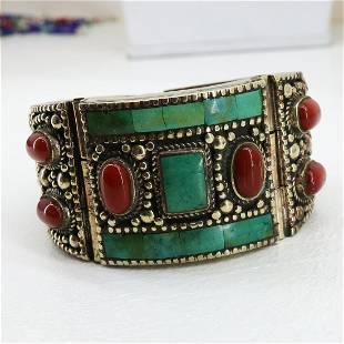 Gypsy Ethnic Turquoise & Coral Handmade Boho Bangle