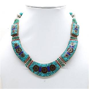Tibetan Turquoise & Lapis Beaded Chokar Necklace