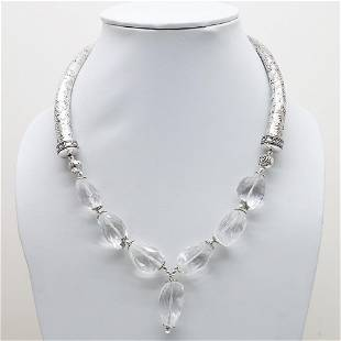 Indian Hand-Carved Metal & Crystal Necklace