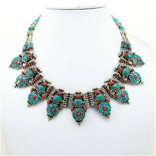 Tibetan Turquoise & Coral Boho Beaded Chokar Old