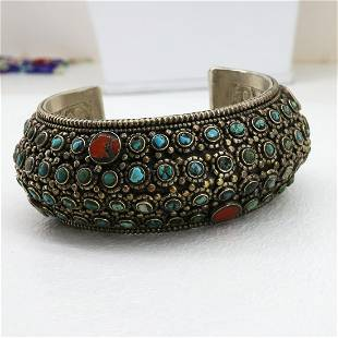 Hand-Carved Turquoise & Coral Handmade Old Bangle