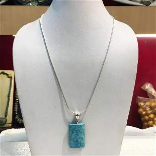 Natural Turquoise Pendant Necklace Silver chain