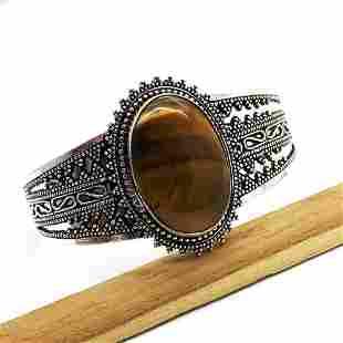 Hand-Carved Metal Tiger Eye Handmade Bangle
