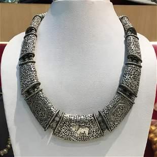 Tibetan Hand Carved Metal Handmade Chokar Necklace