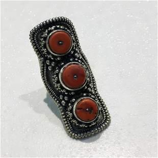 Tibetan Old Coral Hand Carved Antique Old Ring - 10MM