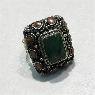 Tibetan Old Turquoise & Coral Hand Carved Old Ring -
