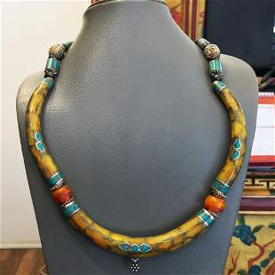 Vintage Turquoise & Amber Antique Handmade necklace
