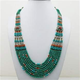 Women's Old Vintage Turquoise Tibetan Long Necklace