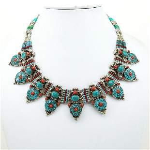 Tibetan Vintage Handmade Turquoise Old Necklace