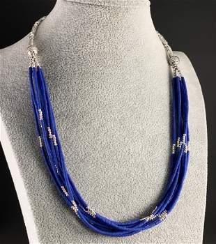 Tibetan Natural Afgani Lapis Handmade Beaded Necklace